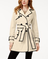 Betsey Johnson Petite Corset Back Skirted Trench Coat Rain Black