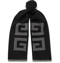 Givenchy Fringed Logo Intarsia Wool And Silk Blend Scarf Black