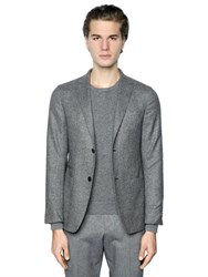 Z Zegna Wool And Silk Donegal Jacket