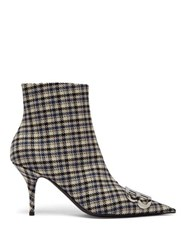 Balenciaga Logo Embellished Checked Ankle Boots Black Blue