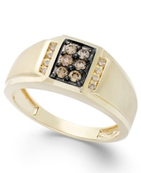 Effy Collection Gento By Effy Men's Brown Diamond And White Diamond Accent Ring In 14K Gold 1 3 Ct. T.W. Yellow Gold