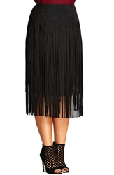 City Chic Plus Size Women's Woodstock Tiered Fringe Faux Suede Skirt