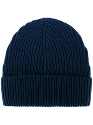 Maison Martin Margiela Ribbed Beanie Hat Men Wool One Size Blue