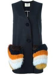 Fendi Fur Pocket Long Waistcoat Blue