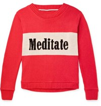 The Elder Statesman Meditate Intarsia Cashmere Sweater Red