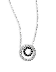 Lord And Taylor Cubic Zirconia And Sterling Silver Double Circle Necklace