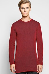 Boohoo Fit Two Tone Ribbed Longline Sweater Wine