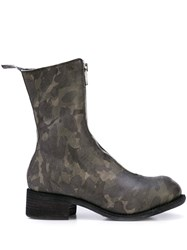Guidi Camouflage Pattern Zip Boots Green
