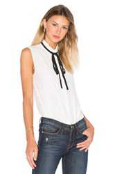 Frame Denim Le Ruffle Neck Blouse White