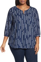 Nydj Plus Size Women's Henley Top Floral Dewdrops