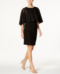 Jessica Howard Lace Capelet Sheath Dress Black