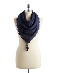 William Rast Metallic Woven Square Scarf Indigo Blue