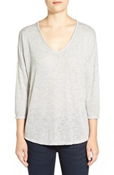 Women's Bobeau Metallic Flecked V Neck Pullover Heather Grey Silver