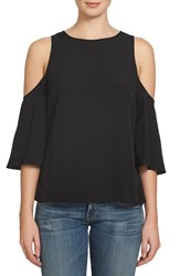 1.State Women's Cold Shoulder Blouse Rich Black