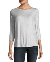 Majestic Paris For Neiman Marcus Soft Touch Metallic Long Sleeve Boat Neck Top Silver Gris Chine