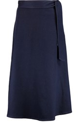 Iris And Ink Stretch Denim Midi Skirt Navy