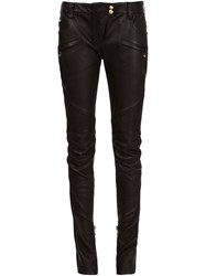 Balmain Leather Biker Trousers Black