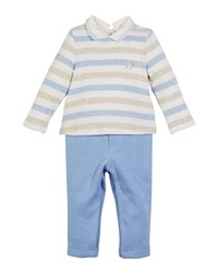Mayoral Stripe Velour Top W Solid Pants Blue