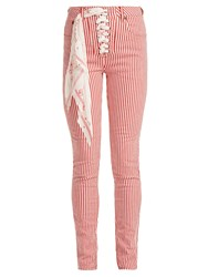 Rockins Lace Up High Rise Jeans Red Stripe