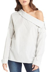Michael Stars Women's One Shoulder Stripe Top Chalk Black