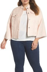 Rachel Roy Plus Size Bell Sleeve Crop Tweed Jacket Ice Pink Combo