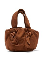 Staud Ronnie Knotted Canvas Clutch Bag Brown
