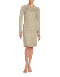 Calvin Klein Cable Knit Sweater Dress Khaki