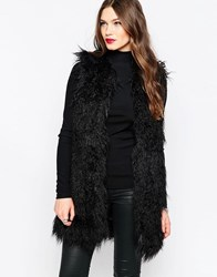 French Connection Chicago Faux Fur Gilet In Black Black