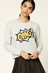 Forever 21 Omg Patch Graphic Sweatshirt Heather Grey Yellow