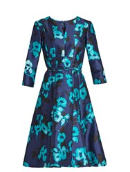 Oscar De La Renta Floral Print Silk Blend Mikado Dress Blue Multi