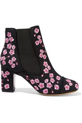Tabitha Simmons Micki Blossom Embroidered Canvas Ankle Boots Pink