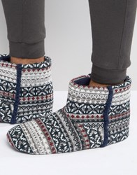 Dunlop Slipper Boots In Grey Fair Isle Blue
