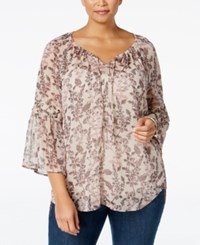 Styleandco. Style Co. Plus Size Bell Sleeve Sheer Peasant Top Only At Macy's Autumn Neutral