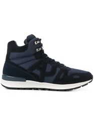 Armani Jeans Contrast Hi Top Sneakers Leather Polyester Rubber Blue
