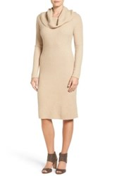 Halogen Cowl Neck Sweater Dress Beige