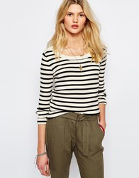 Sessun Commanders Scoop Neck Jumper In Stripe Multi