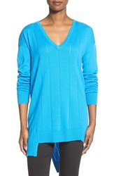 Women's Vince Camuto Drop Stitch Asymmetrical V Neck Sweater Cerulean
