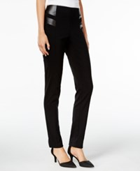 Styleandco. Style Co. Petite Faux Leather Trim Pants Only At Macy's Deep Black