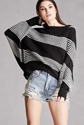 Forever 21 Two Tone Stripe Sweater Black White