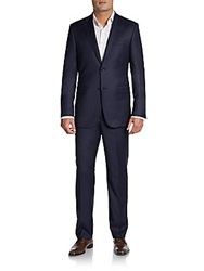 Saks Fifth Avenue Black Slim Fit Crowsfoot Wool Suit Navy