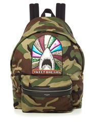 Saint Laurent Sweet Dreams Embellished Camouflage Backpack Green Multi