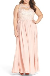 Decode 1.8 Plus Size Women's Embellished A Line Chiffon Gown
