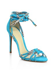 Alexandre Birman Keane Strappy Suede And Snakeskin Sandals Blue Natural