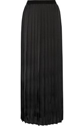 Enza Costa Pleated Satin Maxi Skirt Black