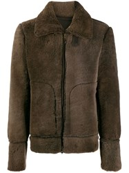 Salvatore Santoro Zip Up Fur Jacket Brown