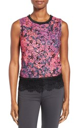 T Tahari Women's Sienna Print Lace Top