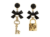 Betsey Johnson Iconic Heart Lock Key Earrings Crystal Black Earring Blue