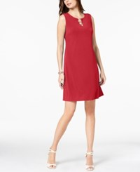 Jm Collection Petite Three Ring Sheath Dress Red Crystal