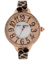 Betsey Johnson Women's Leopard Print Leather Strap Watch 47Mm Bj00387 03