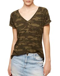 Sanctuary Cam Print V Neck Tee Green